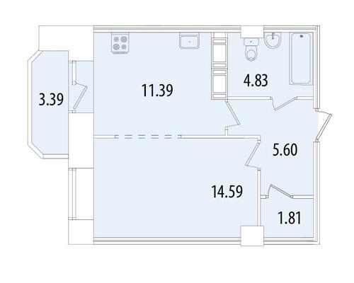 Планировка Однокомнатная квартира площадью 39.92 кв.м в ЖК «Капитал»