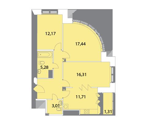 Планировка Трёхкомнатная квартира площадью 77.76 кв.м в ЖК «Капитал»