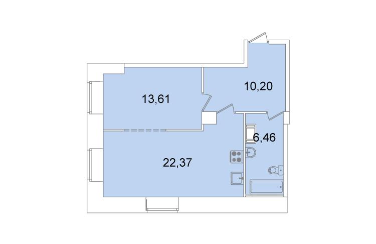 Планировка Однокомнатная квартира площадью 52.6 кв.м в ЖК «Жилой комплекс «Капитал»»