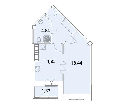 Планировка Однокомнатная квартира площадью 43.39 кв.м в ЖК «Капитал»
