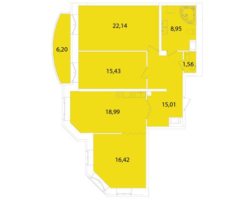 Планировка Трёхкомнатная квартира площадью 102.54 кв.м в ЖК «Капитал»