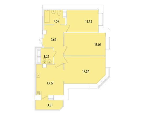 Планировка Трёхкомнатная квартира площадью 75 кв.м в ЖК «Капитал»