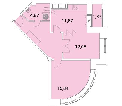 Планировка Двухкомнатная квартира площадью 66.24 кв.м в ЖК «Капитал»