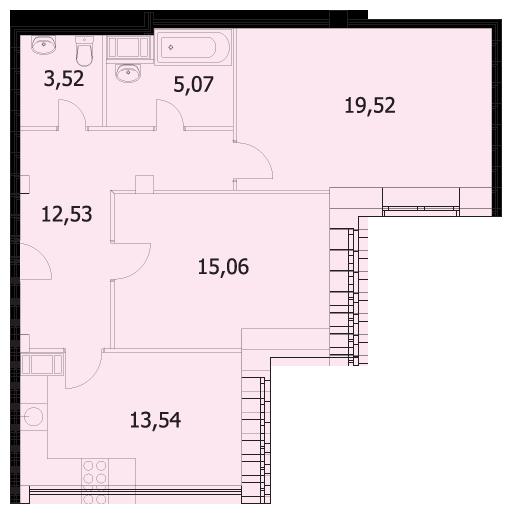 Планировка Двухкомнатная квартира площадью 60.17 кв.м в ЖК «Капитал»