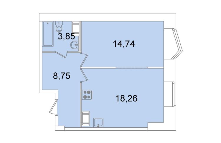 Планировка Однокомнатная квартира площадью 45.6 кв.м в ЖК «Жилой комплекс «Капитал»»